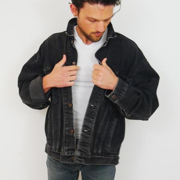 VTG Levi's Black Denim Jacket w/ Stitching on Back